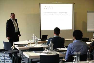 Juergen presenting Enterprise Architecture with Visual Paradigm