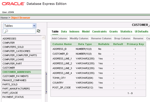 Confirm database is updated with Oracle object browser