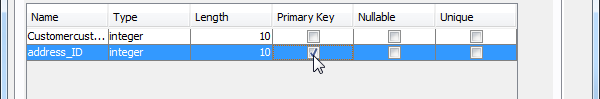Specify column as primary key