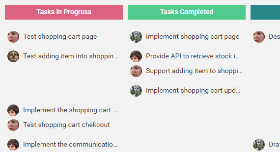 Scrum Board for tracking tasks' progresses