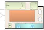 Medium size bathroom layout floor plan template