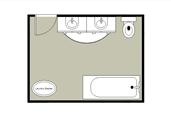 Simple bathroom layout floor plan template