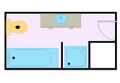 Small narrowed bathroom floor plan template