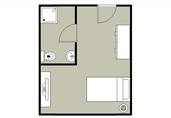 Single bedroom layout floor plan template