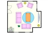 Cozy living room floor plan template
