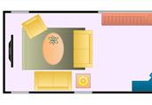 Narrow living room arrangement floor plan template