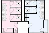 Public restrooms floor plan template