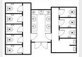 Shared sinks restrooms floor plan template