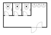 Simple restroom floor plan template