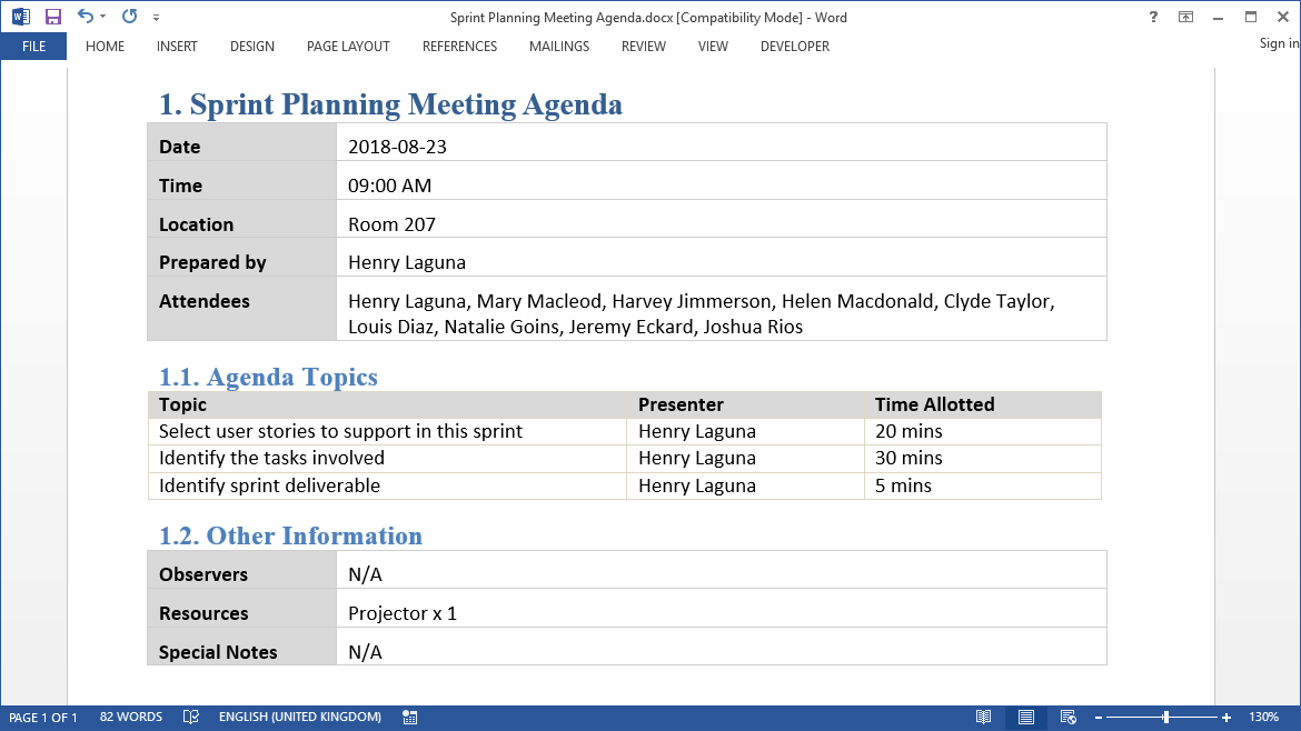 Deliverable Production Sprint Planning Meeting Agenda