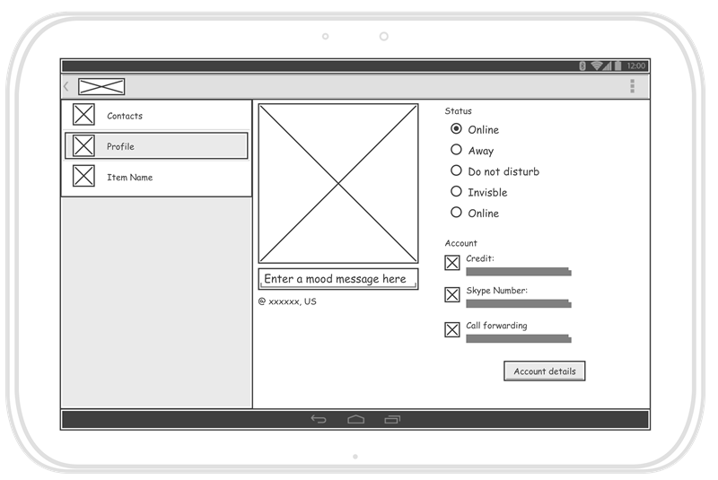 Android Tablet Wireframes