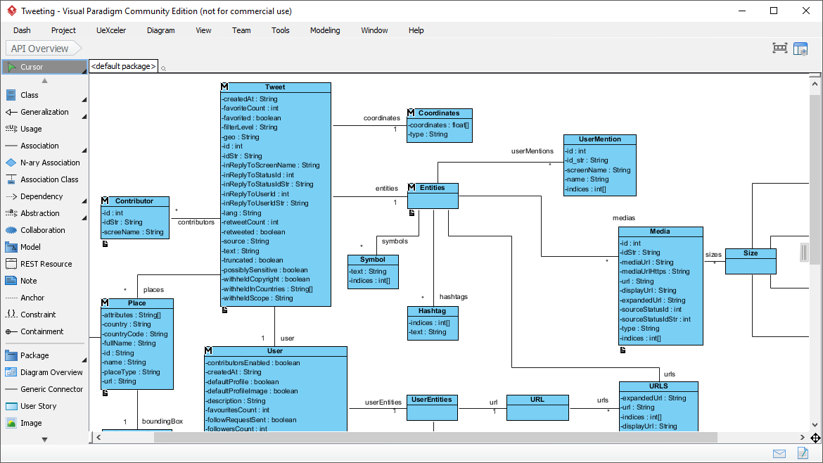 Free uml tool draw class diagram for api design with no redundant widgets on the screen you can design freely in a large diagram editor erd uml software ccuart