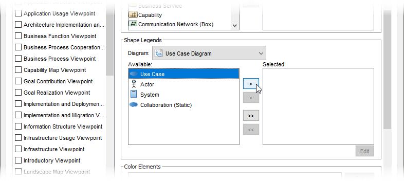 Configure shape legend
