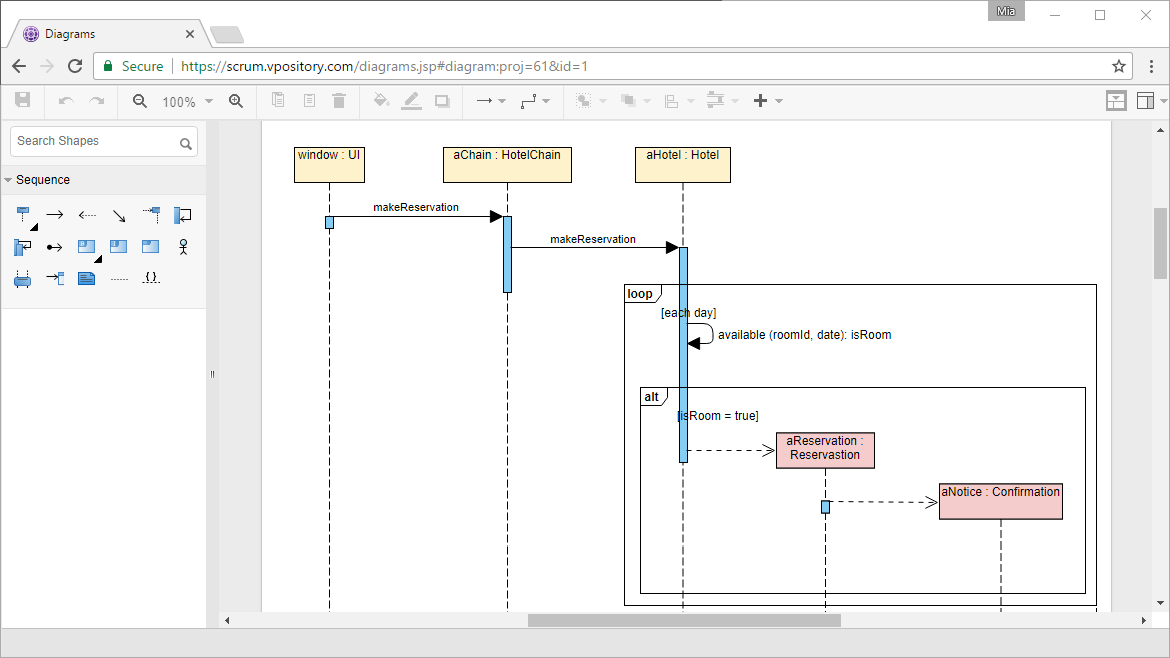 Online UML Sequence Diagram
