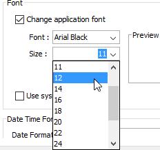 Change font size
