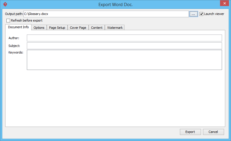 Export Word Doc window