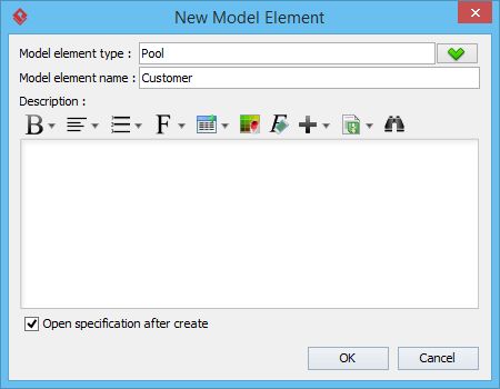 Entered model element name