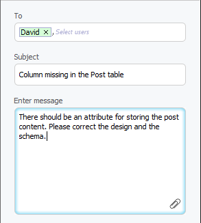 Post message entered