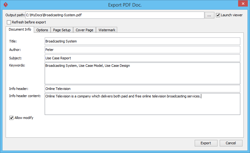 export pdf doc window - Visual Paradigm Viewer