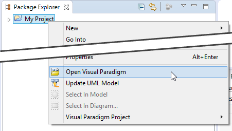 Opening Visual Paradigm from Eclipse