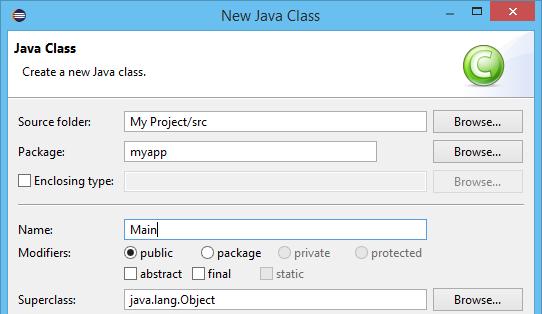 New Java class