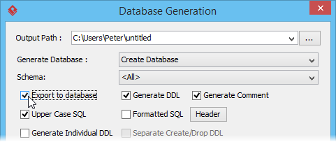 Select export to database