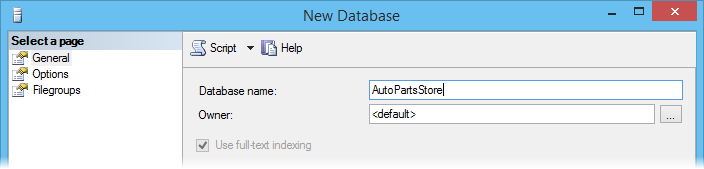 Entering database name