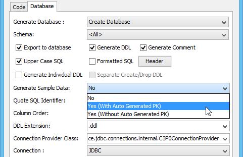 Selected generate sample data