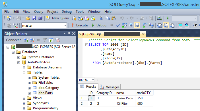 Database exported to MS SQL