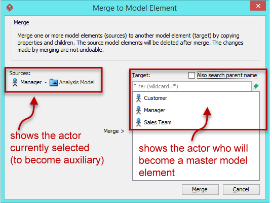 Merge to Model Element dialog box