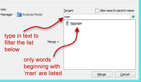 apply filter to make the target list shorter