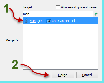 select the master model element and click Merge