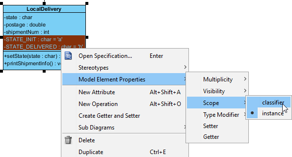 Classifier scope selected