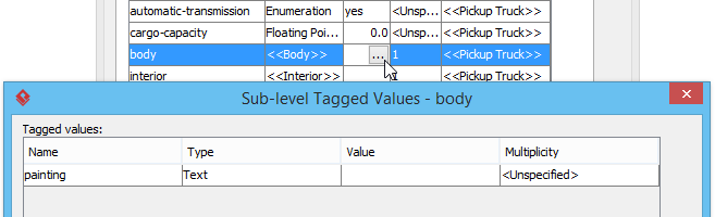 Sub-level tagged values