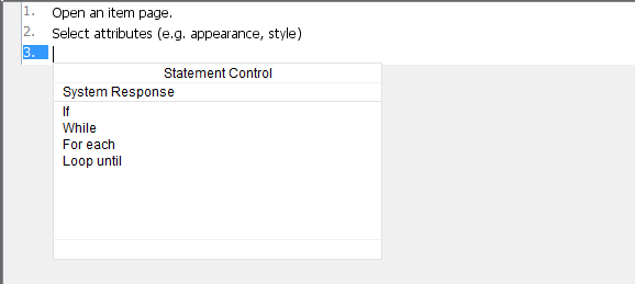 Statement Control list toggled