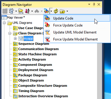 now comes the code generation select the menu update code on diagram navigator - Visual Paradigm Viewer