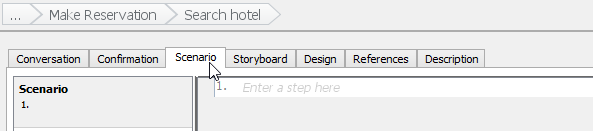 Open user story scenario tab
