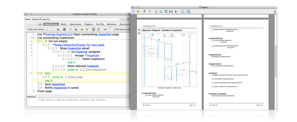 flow of events editor - Sequence Diagram Mac