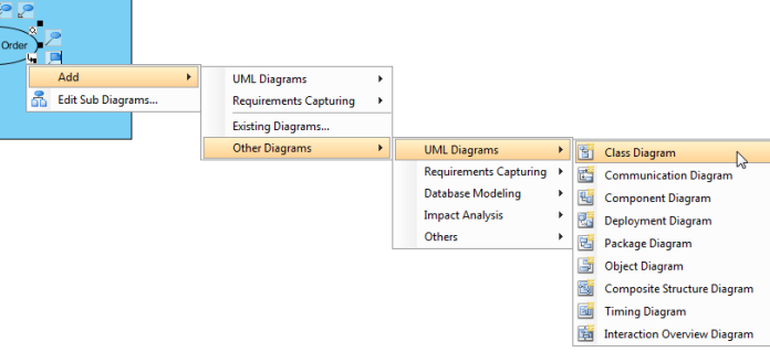 select class diagram on menu