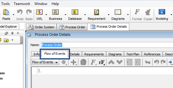 flow of events tab