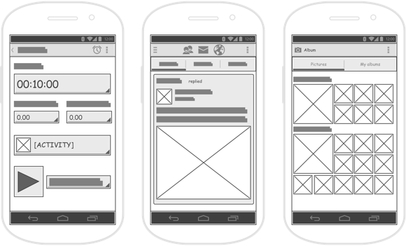 android wireframes samples