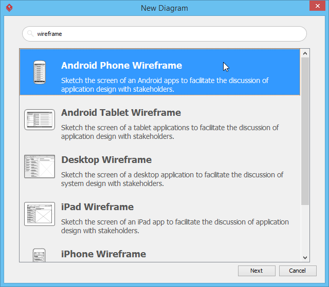 Create android phone wireframe
