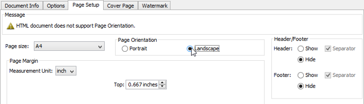 set page to landscape