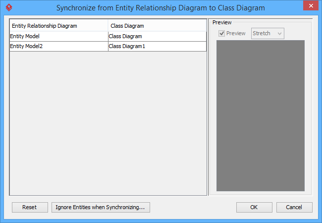 er diagram to uml class diagram mapping dialog box