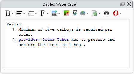 describe distilled water order contract