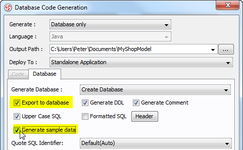 check option in db gen