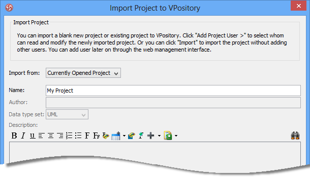 import project to vpository